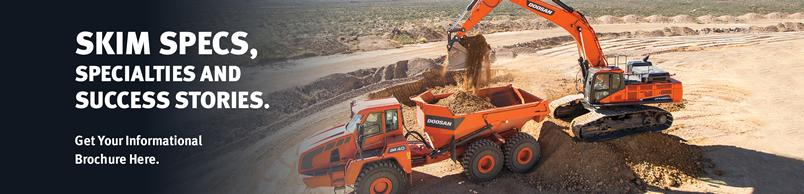 Doosan DA40 Articulated Dump Truck is loaded by a DX490LC-5 Crawler Excavator.