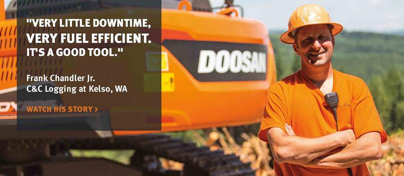 A video of a customer giving a testimonial about Doosan equipment.