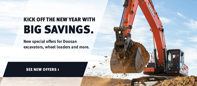 Doosan DX350LC-5 crawler excavator and bucket attachment in a promotion for new special offers.
