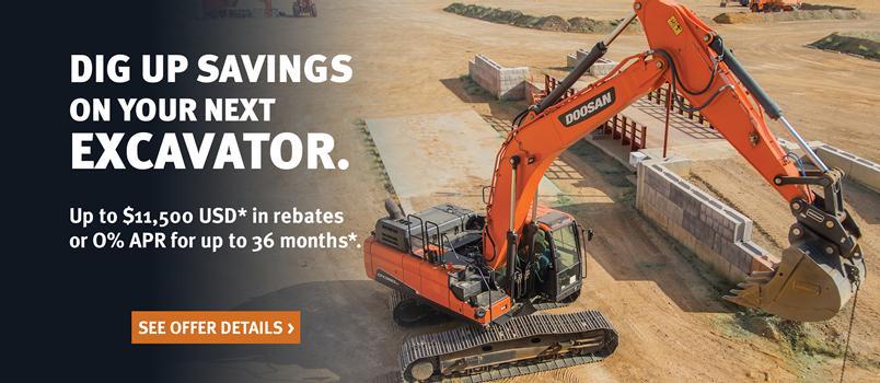 Doosan crawler excavator rebates promotion.