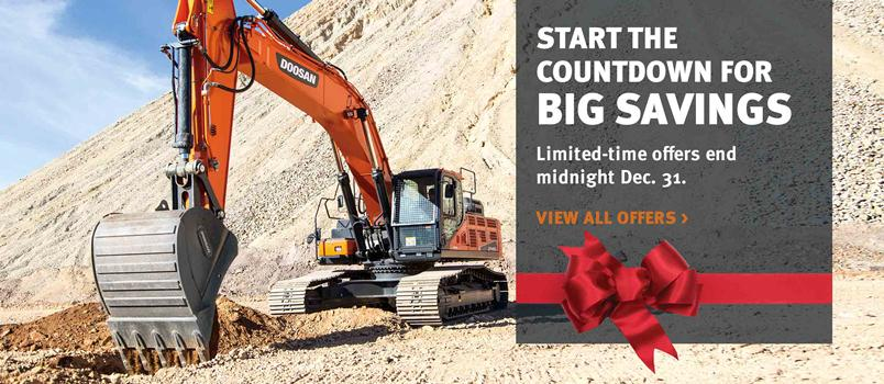 Doosan DX420LC-5 crawler excavator and bucket attachment in a special offers promotion.