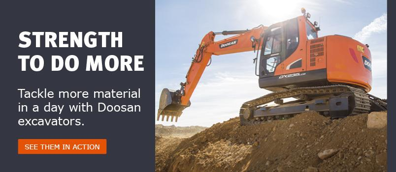 Doosan crawler excavator digging at major construction project.