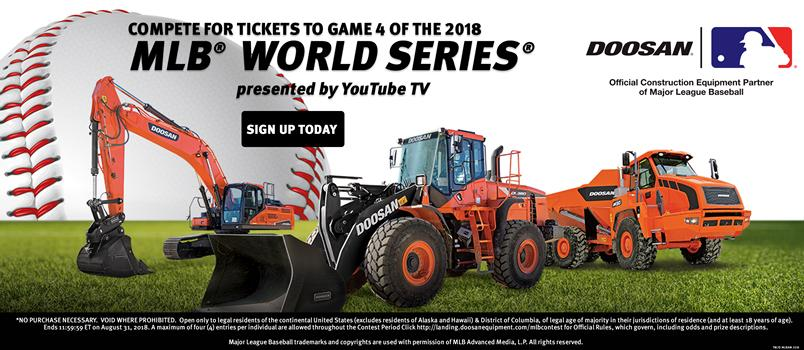 Doosan crawler excavator, wheel loader and articulated dump truck in a promotion to win tickets to a MLB World Series game.