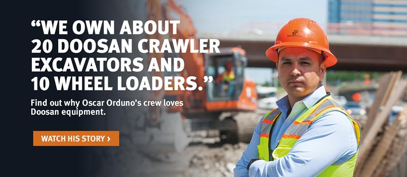 Doosan crawler excavator and customer at a construction site in a video testimonial.