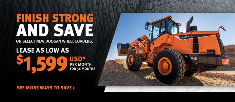 Doosan DL200-5 wheel loader promotion with Finish Strong and Save on Select Doosan Wheel Loaders.