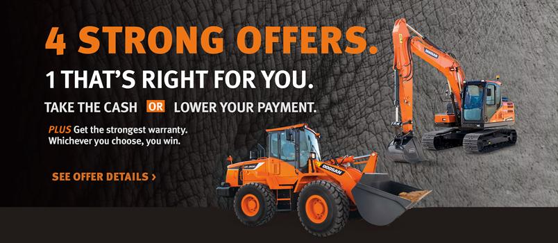 Select Doosan wheel loader and crawler excavator models are available with four special offers.