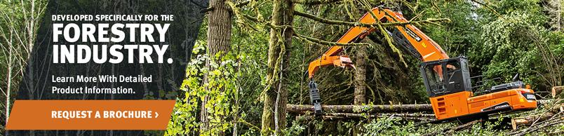 Doosan DX380LL Log Loader at work in the forestry industry.