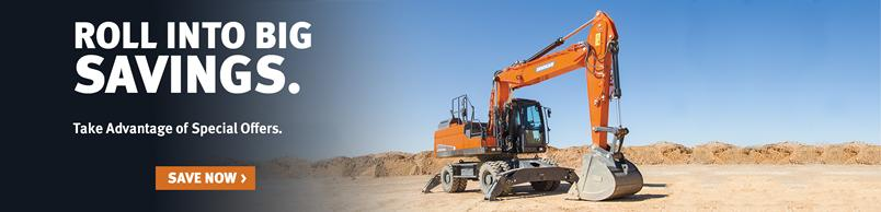 Doosan DX210W-5 wheel excavator on a jobsite.
