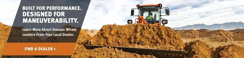 Doosan DL250-5 Wheel Loader moves a pile of soil.